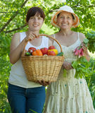 Two happy women with vegetables Stock Photo