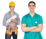 Two happy workers. A over white background Stock Image