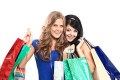 Two happy young adult women Royalty Free Stock Image