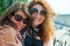 Two happy young beautiful women Stock Photo