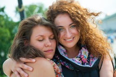 Two happy young beautiful women Stock Photo