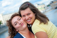 Two happy young beautiful women Royalty Free Stock Photography