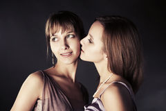 Two happy young beautiful women Royalty Free Stock Photo