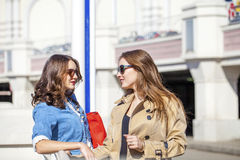 Two happy young beautiful women in sunglasses Stock Image