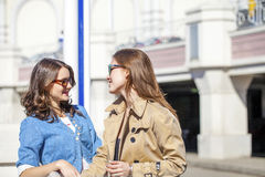 Two happy young beautiful women in sunglasses Stock Photos