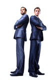 Two happy young businessmen full body Stock Photos