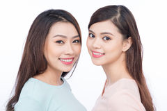 Two happy young female friends Stock Photo