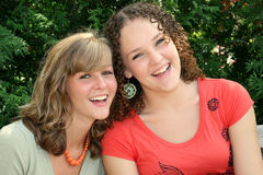 Two Happy Young Females Stock Photo