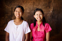 Two happy young Myanmar girls Stock Photos