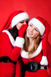 Two happy young Santa girl talking Royalty Free Stock Photos