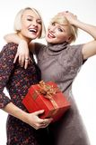 Two happy young women Stock Images