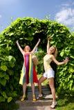 Two happy young women enjoying summer Royalty Free Stock Photo