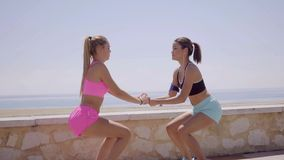 Two happy young women exercising together. Two happy athletic young women exercising together holding hands and jumping in unison on a seafront promenade stock footage