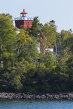 Two Harbors Lighthouse. An old red brick lighthouse along Lake Superior in Minnesota stock images