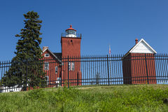Two Harbors Lighthouse. An old red brick lighthouse along Lake Superior in Minnesota stock photos