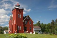 Two Harbors Lighthouse. Two Harbors Minnesota Lighthouse on Lake Superior Stock Photo