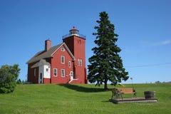 Two Harbors Lighthouse. Along Lake Superior in Minnesota Stock Photo
