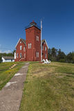 Two Harbors Lighthouse. An old brick lighthouse along Lake Superior stock images