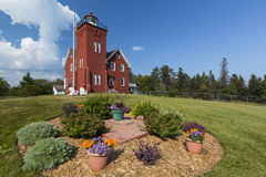 Two Harbors Lighthouse. An old brick lighthouse along Lake Superior stock photo