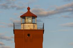 Two Harbors Lighthouse Tower. The top of a lighthouse tower in the evening sun stock image