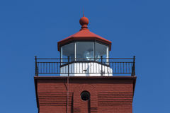 Two Harbors Lighthouse Tower. The upper part of an old brick lighthouse royalty free stock photos