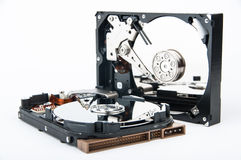 Two hard disk drives closeup Stock Photography