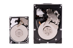 Two hard disks on a white background Royalty Free Stock Photos