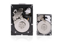 Two hard disks on a white background Stock Photos