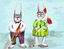 Two hares. he and she with gifts. For a holiday Stock Images