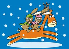 Two hares and reindeer. Are running. Winter image Royalty Free Stock Images