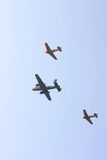 Two Harvards and a Bomber plane Royalty Free Stock Photography