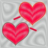 Two hatched hearts on a shaded background. St.Valentine day concept. Vector illustration Stock Images