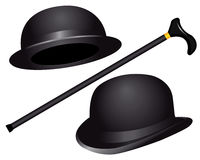 Two hats and cane Royalty Free Stock Images