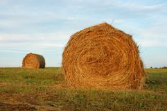 Two Haystacks Royalty Free Stock Image