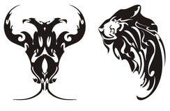Two-headed Adler und Kopf der Symbole eines Löwes Stockfotos