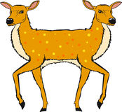 Two headed deer vector illustration clip-art image file. Hand drawn royalty free illustration