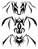 Two-headed Dragon tattoos. Set of two-headed dragons usable for tattoos Stock Photos