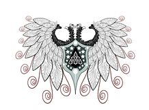 Elegant Two-headed eagle isolated Royalty Free Stock Photos