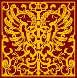 Two Headed Eagle. XVII Century Two headed eagle with wings in an isometric pattern vector illustration