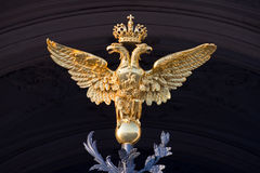Two-headed eagle. The state symbol of Russian Empire (before 1917). Hermitage entrance, St.Petersburg, Russia stock images