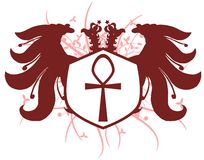 Two-headed eagle with ankh isolated Royalty Free Stock Image