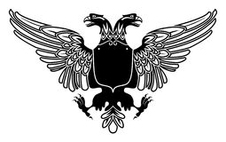 Two headed eagle coat of arms. With empty banner on its stomach Stock Images