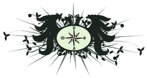 Two-headed eagle with compass rose isolated Stock Photos