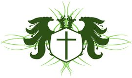 Two-headed eagle with cross isolated Stock Image