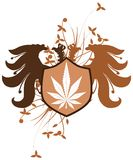Two-headed eagle with marijuana isolated Stock Images