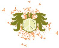 Two-headed eagle with peace symbol isolated Stock Photography