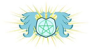Two-headed eagle with wicca pentacle symbol Royalty Free Stock Image