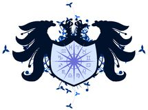 Two headed eagle with Zodiac signs isolated. Illustration representing the symbols of the 12 zodiac signs on the shield of a two headed eagle. An idea that can Royalty Free Stock Photo