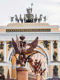 Two-headed eagles on the fence around the pillar of Alexandria, on Palace Square In St. Petersburg. Two-headed eagles on the fence around the pillar of Royalty Free Stock Photos