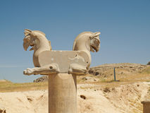 Two-headed Griffin statue in an ancient city of Persepolis in Sh Stock Photos